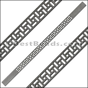 10mm Flat LASER CUT Leather Style 2 GUNMETAL - per piece