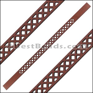 10mm Flat LASER CUT Leather Style 3 MAHOGANY - per piece