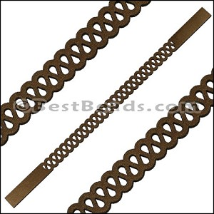 10mm Flat LASER CUT Leather Style 5 METALLIC BROWN - per piece