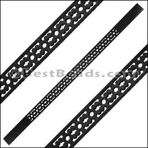 10mm Flat LASER CUT Leather Style 6 BLACK - per piece