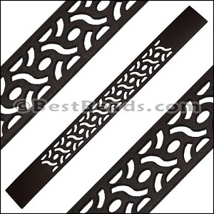 20mm Flat LASER CUT Leather Style 1 CHOCOLATE - per piece