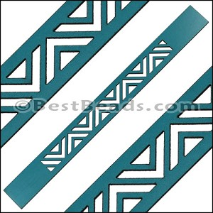 20mm Flat LASER CUT Leather Style 2 TURQUOISE - per piece