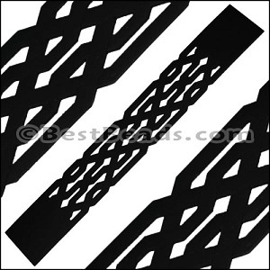 30mm Flat LASER CUT Leather Style 1 BLACK - per piece