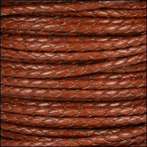 3mm Round Mediterranean BRAIDED Leather MAHOGANY- per 10 METERS