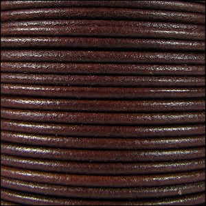 2mm Round Mediterranean Leather BROWN - per 20m SPOOL