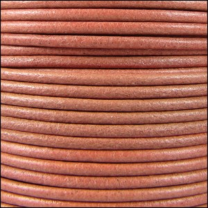 2mm Round Mediterranean Leather SALMON - per 20m SPOOL