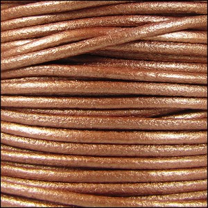 3mm Round Mediterranean Leather METALLIC COPPER - per 20m SPOOL