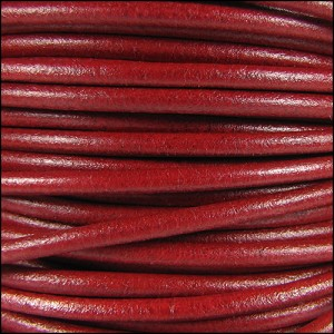 3mm Round Mediterranean Leather RED - per 20m SPOOL