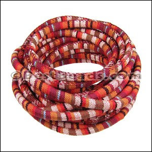 6mm round Multi Cotton Cord RED/BROWN - per 5 meters