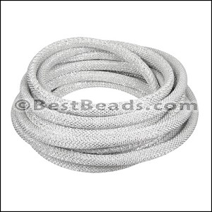 6mm round Metallic Cord BRIGHT SILVER - per 3 meters
