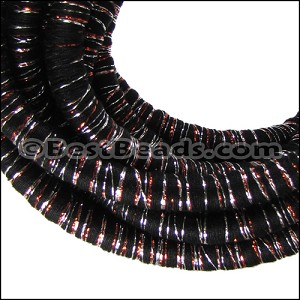 10mm round Knitted Cord BLACK/COPPER - per 3 meters