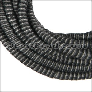 5mm round Knitted Cord BLACK/GREY - per 5 meters