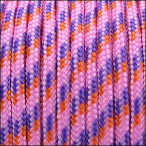 2.5mm variegated parachute cord pink/purple/orange - per SPOOL