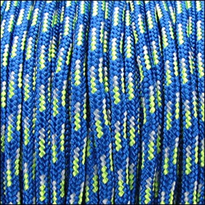 2.5mm variegated parachute cord royal blue/neon green - per SPOOL