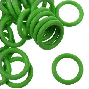 7.25mm rubber o-rings per 10 pieces BRIGHT GREEN