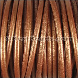 6mm Round (with hole) Portuguese Leather METALLIC COPPER - per 1 meter