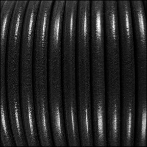 5mm Round Premier Leather BLACK - per 20m SPOOL