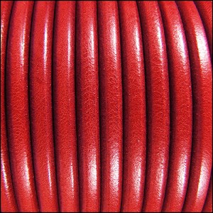 5mm Round Premier Leather RED - per 20m SPOOL