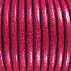 5mm Round Premier Leather FUCHSIA - per 20m SPOOL