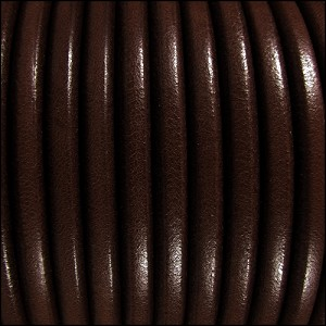 5mm Round Premier Leather DARK BROWN - per 20m SPOOL