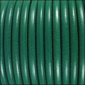 5mm Round Premier Leather TEAL - per 10 feet