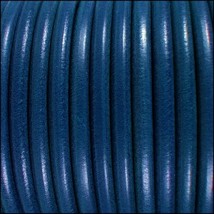 5mm Round Premier Leather BLUE - per 20m SPOOL
