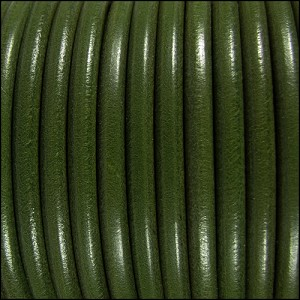 5mm Round Premier Leather ARMY GREEN - per 20m SPOOL
