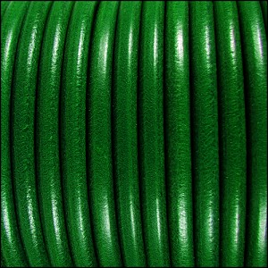 5mm Round Premier Leather KELLY GREEN - per 10 feet