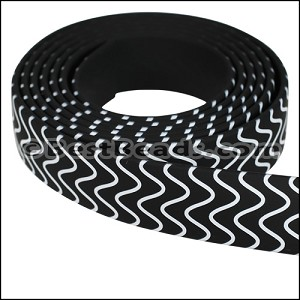 15mm Flat FANTASY band B&W WAVES - per 1 meter