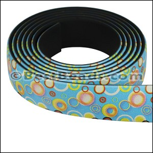 15mm flat FANTASY band SMALL CIRCLES MULTI - per 1 meter