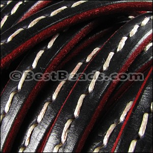 Regaliz® 4.5mm STITCHED leather BURNT ORANGE - per 10m SPOOL