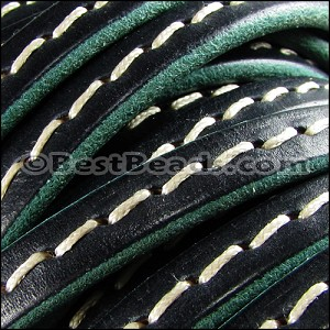 Regaliz® 4.5mm STITCHED leather TURQUOISE - per 2 meters