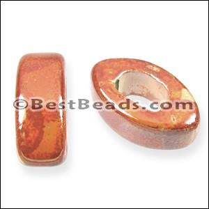 Regaliz® 5mm EYE ceramic bead PEACH:ORANGE - per 10 pcs