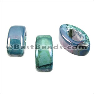 Regaliz® 10mm EYE ceramic bead LILAC:GREEN:BLUE - per 10 pcs