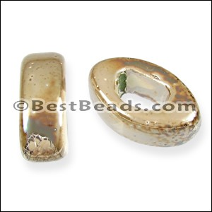 Regaliz® 10mm EYE ceramic bead BEIGE:CREAM - per 10 pcs