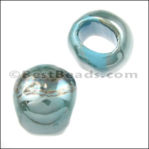 Mini Regaliz® TURQUOISE:GREY Ceramic bead - per 10 pcs