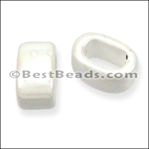 Regaliz® 15mm OVAL ceramic bead WHITE - per 10 pcs