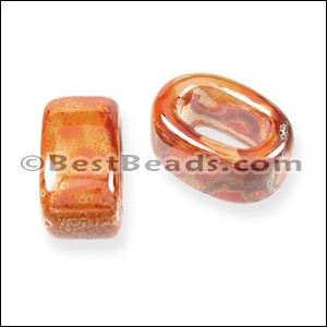 Regaliz® 10mm OVAL ceramic bead PEACH:ORANGE - per 10 pcs