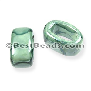 Regaliz® 15mm OVAL ceramic bead TEAL:LIME - per 10 pcs