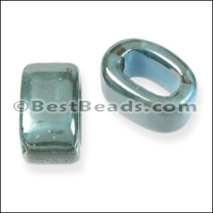 Regaliz® 10mm OVAL ceramic bead TURQUOISE:GREY - per 10 pcs