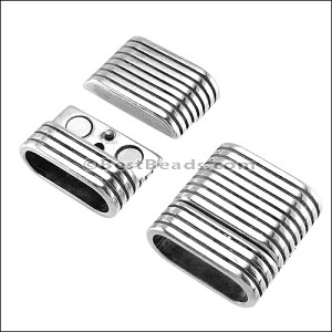 Regaliz® TWO STRAND STRIPED Magnetic Clasp ANT. SILVER - per 5 clasps