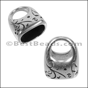 Regaliz® FLORAL SWIRL end clasp ANT. SILVER - per 10 pieces