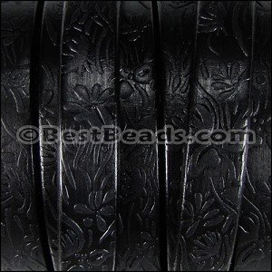 Regaliz® Dakota FLORAL leather BLACK - per 1 meter