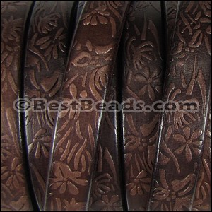 Regaliz® Dakota FLORAL leather DARK BROWN - per 1 meter