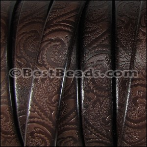 Regaliz® Dakota PAISLEY leather DARK BROWN - per 10m SPOOL