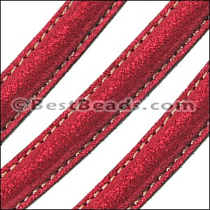 MINI Regaliz® Leather Oval SPARKLE STITCHED RED - per 10m SPOOL