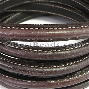 MINI Regaliz® Leather Oval STITCHED DARK BROWN - per 10m SPOOL