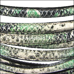 MINI Regaliz® Leather Oval SYNTHETIC STITCHED GREEN/BEIGE per 3.28ft (1 meter)