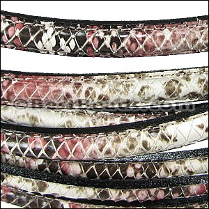 MINI Regaliz® Leather Oval SYNTHETIC STITCHED RED/BEIGE per 3.28ft (1 meter)