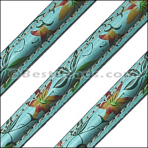 MINI Regaliz® Leather PATTERNED STITCHED TURQUOISE - per 10m SPOOL